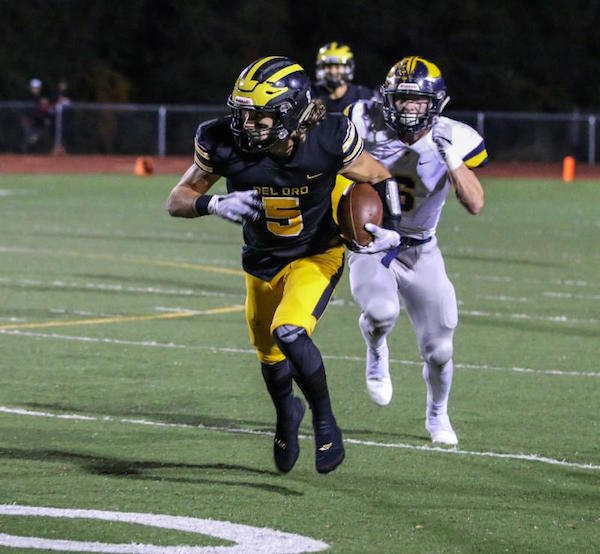 Matthew Smart, Del Oro Football Sr wide receiver caught three passes for 173 yards and scored both touchdowns in come from behind win...