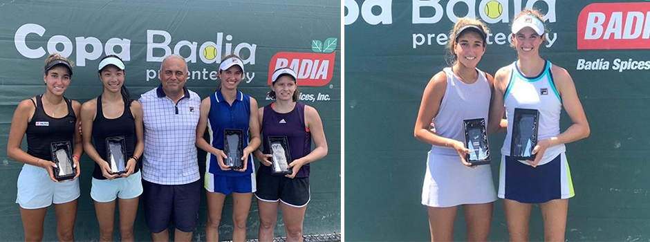 J4 Coral Gables ITF – Coral Gables, FL. Picture on the left: L-R: Allura Zamarripa, Annabelle Xu, India and Gianna Pielet. Picture on the right: Allura Zamarripa and India Houghton.